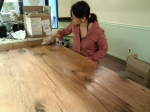 lina applies osmo to the counter