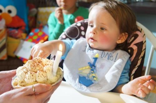 banana cream pie and child