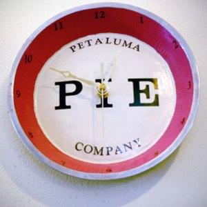 Spring Ahead! Our custom pie clock at Petaluma Pie Company