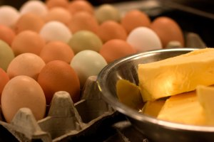 butter and eggs for pie