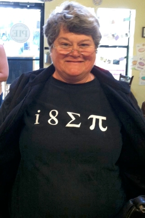 Judy Sanders and her i eight sum pi t-shirt