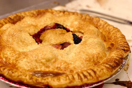 nectarine blackberry pie at petaluma pie company, a bakery cafe in historic downtown petaluma, sonoma county, california