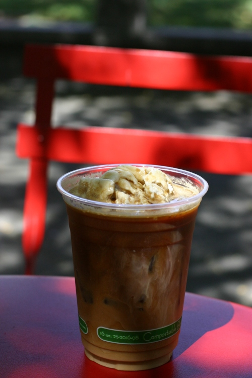 iced coffe a la mode at petaluma pie company, a farm to table bakery cafe in historic downtown petaluma, sonoma county, northern california, chicken country