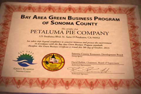 Petaluma Pie Company is a certified Green Business!