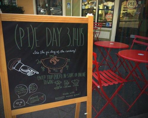 Pi Day Pi Ku or Pi(e) Ku sign at Petaluma Pie Company 2015