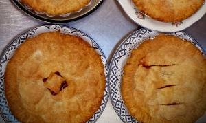 nectarine blackberry or strawberry rhubarb pie at petaluma pie company, petaluma, california